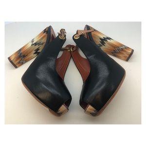 NWT Missoni Size 39 Leather Peep Toe Heels